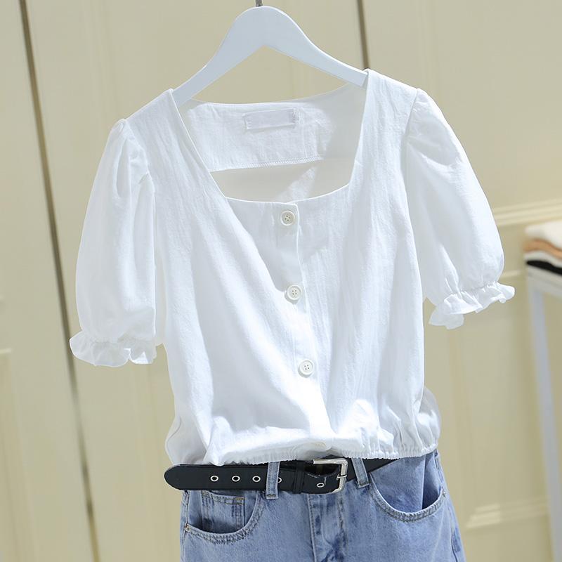 2021年夏装新款露锁骨泡泡袖收腰上衣方领法式短袖衬衫短款