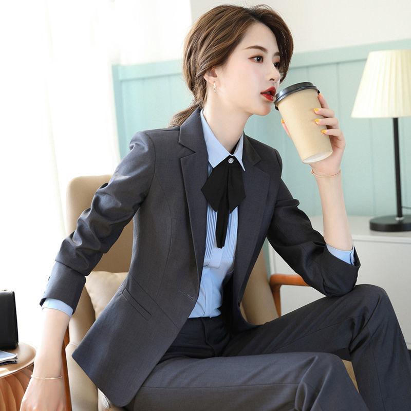 高端西裝套裝女夏季氣質正裝女士工裝黑色工作服職業裝西服外套夏