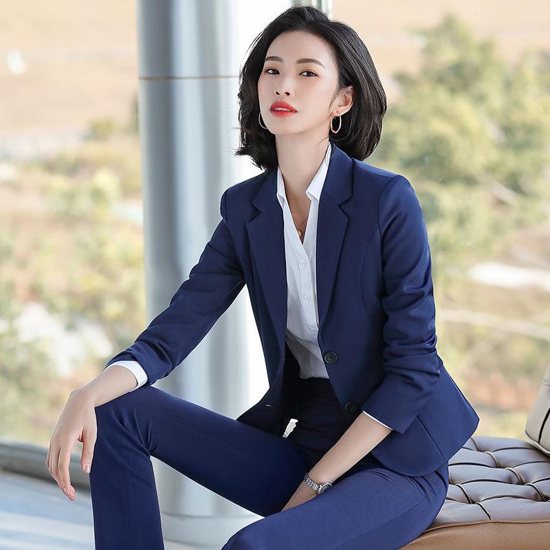 西裝套裝女秋冬修身職業工作服工裝氣質小西裝西服長袖外套職業裝