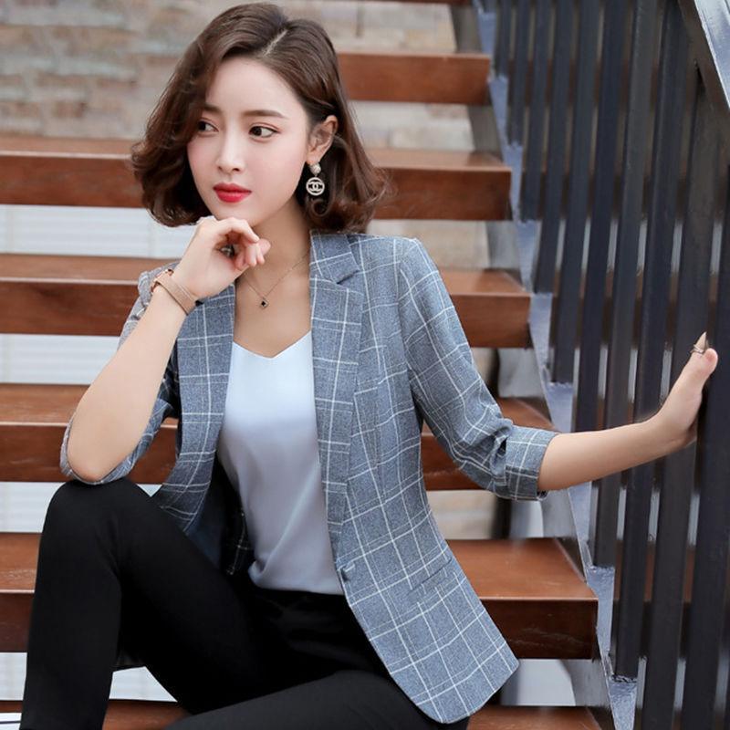 小西裝外套女格子七分袖小西服2021春夏新款網紅韓版休閑女士上衣