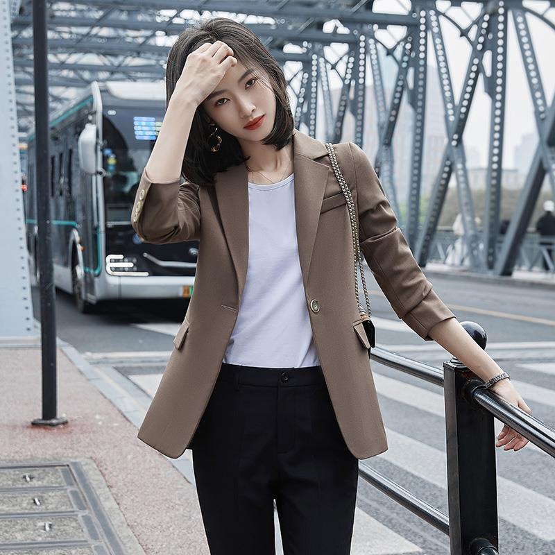 高級感咖色休閑寬松西裝外套女春秋韓版女士英倫風炸街小西服上衣