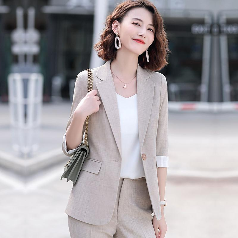 米色西裝外套女春夏季薄款時尚氣質韓版小個子洋氣西服職業裝套裝
