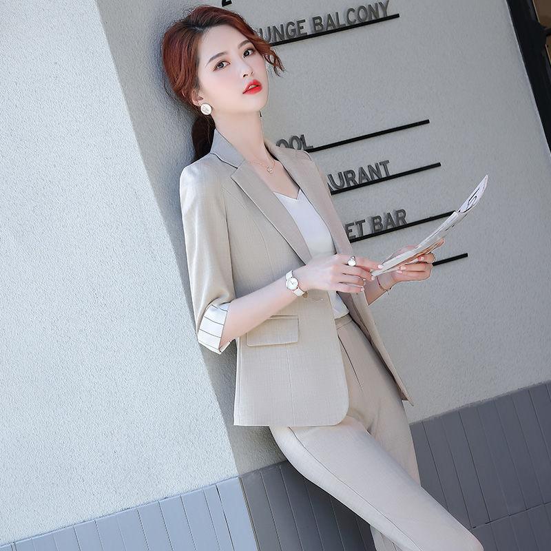 西裝套裝女2020新款韓版時尚職業裝正裝氣質女神范夏季薄款女西服
