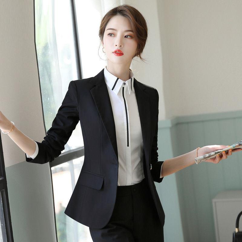 職業裝2021春夏西裝套裝女藏藍色西服面試商務上班正裝4S店工作服