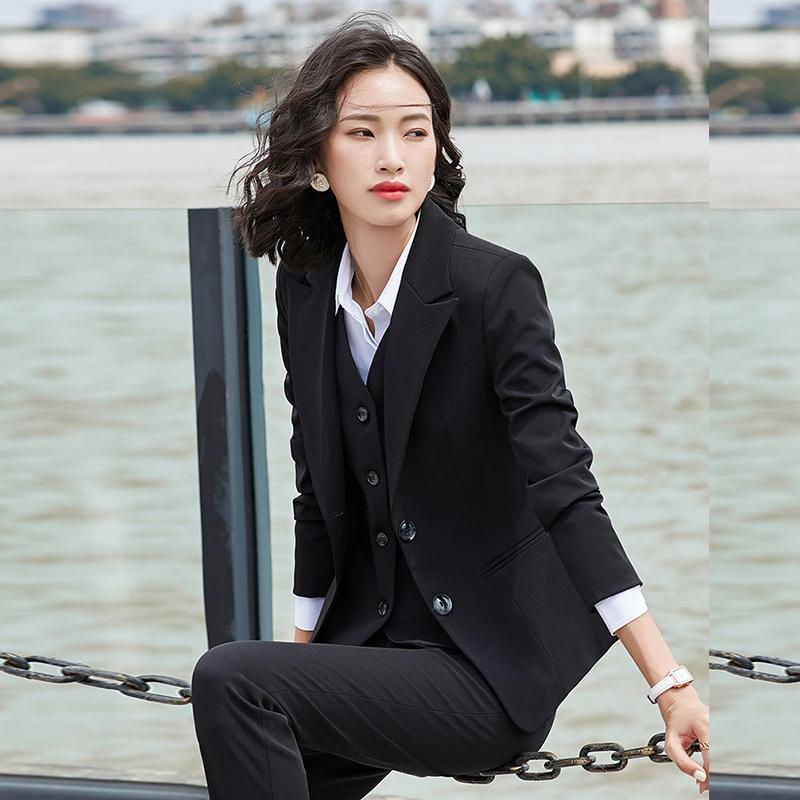 職業西裝套裝女長袖韓版時尚氣質大學生面試商務公務員正裝工作服