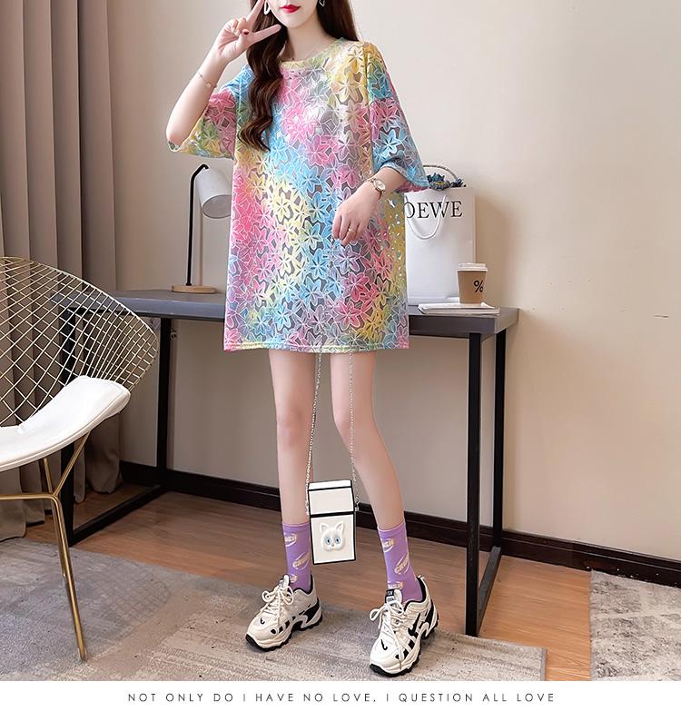 实价新款韩版短袖宽松版扎染镂空圆领短袖T恤女上衣