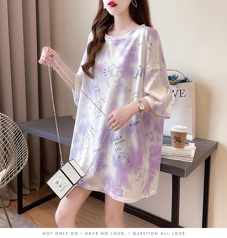 实价韩版宽松网红扎染镂空圆领短袖T恤女中长款上衣