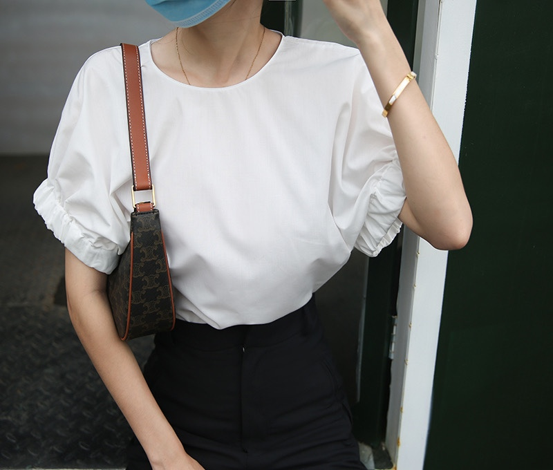 蝙蝠袖套頭獨特袖棉質襯衣短袖上衣白色洋氣小衫ins簡約設計罩衫