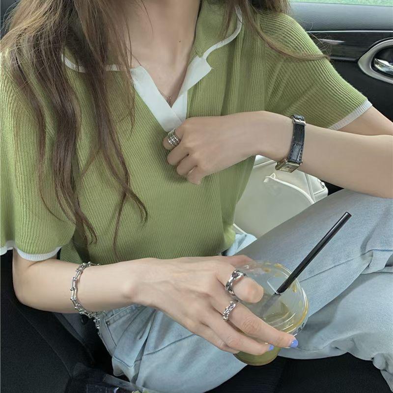 polo领短袖T恤女夏季2021新款设计感小众chic港味短款上衣服ins潮
