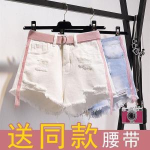 CP149#特价款!送腰带/米奇牛仔短裤女夏学生百搭大码白色高腰阔腿热裤