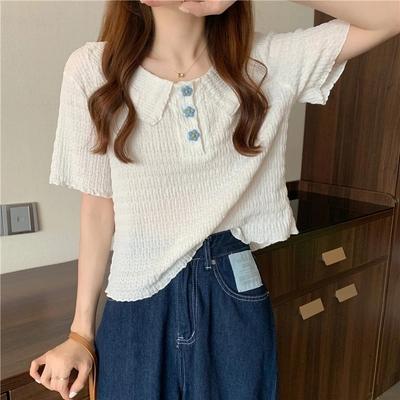 花朵短袖衬衫Polo褶皱夏季2021新款娃娃领短款白色韩风chic上衣女