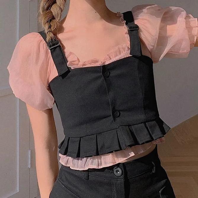 短款吊帶上衣套裝女夏短袖修身設計感歐根紗襯衫兩件套