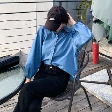 实拍实价现货 三标齐 早秋长袖设计感复古港味软牛仔衬衣