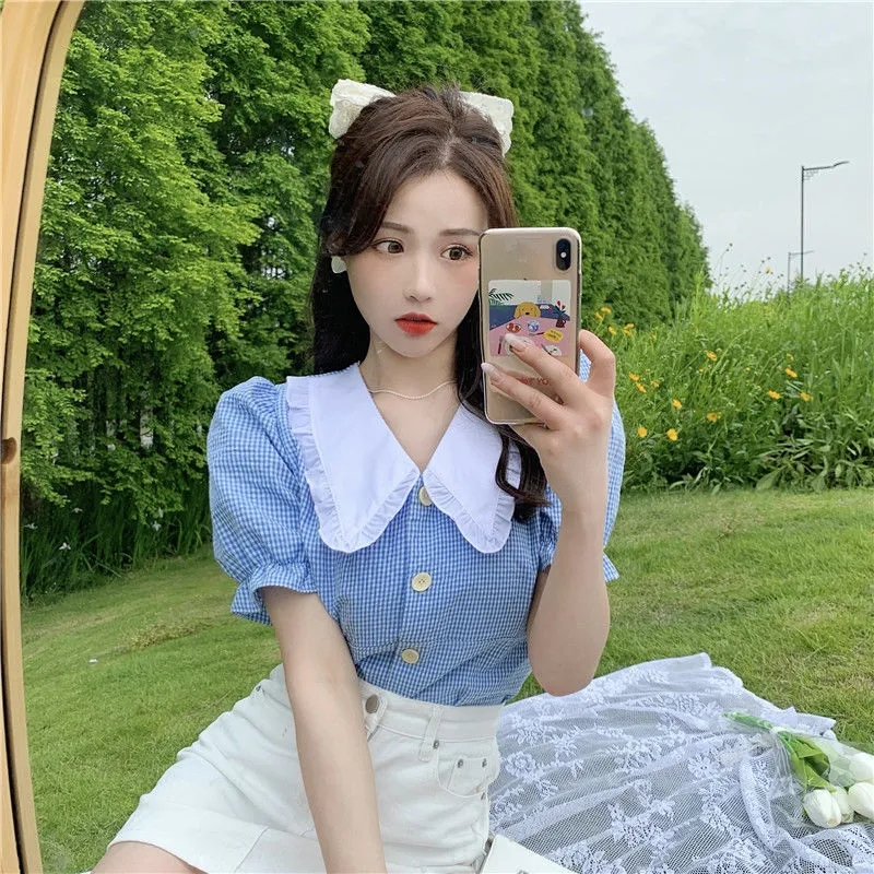 格子衬衫女夏韩版2021年新款洋气设计感娃娃领撞色短款泡泡袖上衣