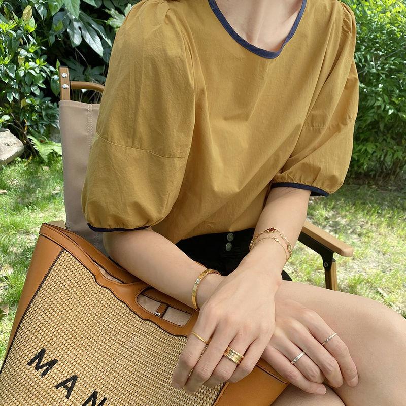 设计感小众圆领短袖衬衫女2021夏薄款套头小衫洋气百搭宽松上衣潮