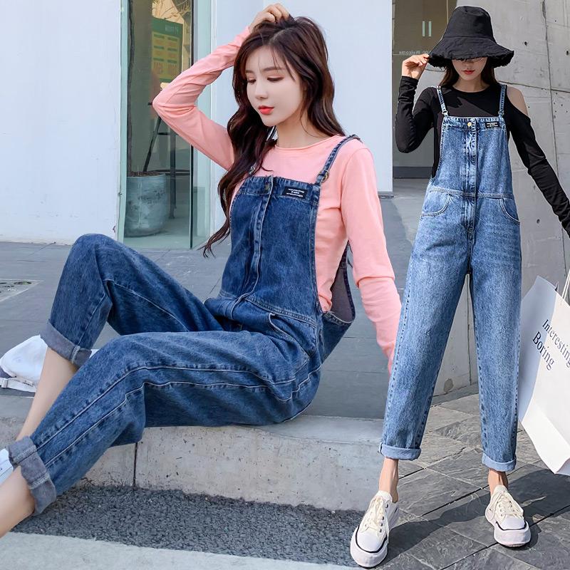 牛仔背帶褲女秋季薄款2021新款韓版寬松顯瘦時尚小個子長褲子女潮