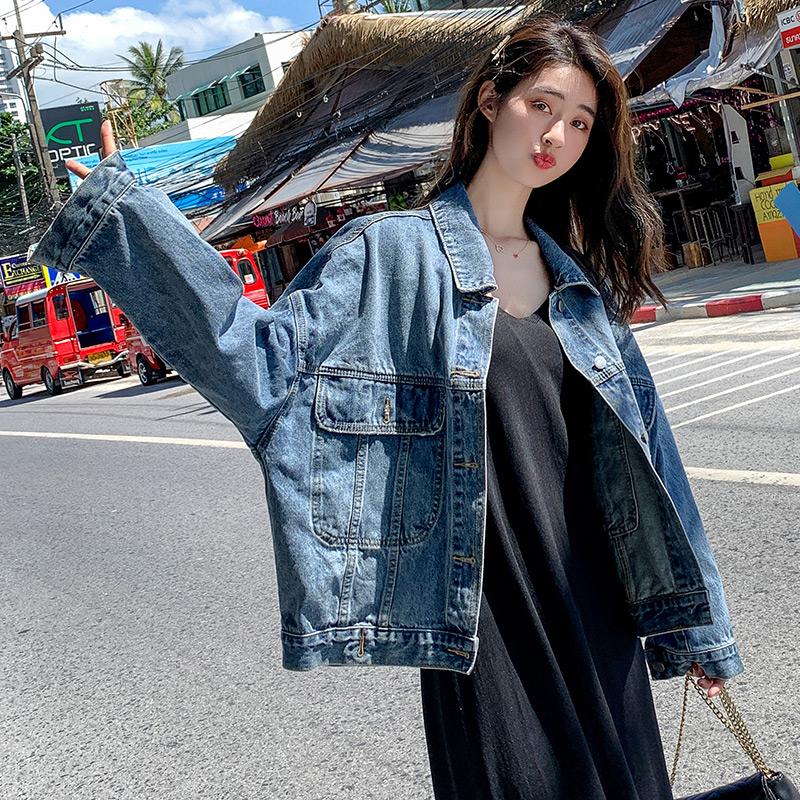 復古牛仔外套女秋季2021新款韓版寬松上衣開衫網紅外搭小外套潮