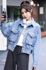 实拍实价现货  三标齐  早秋韩版新蝙蝠袖立体口袋宽松软牛仔外套