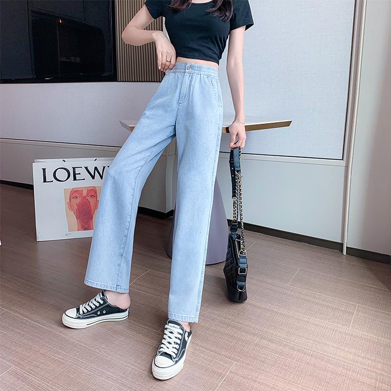 冰絲氧吧牛仔褲女夏秋薄款2021年新款高腰直筒寬松垂感冰爽闊腿褲