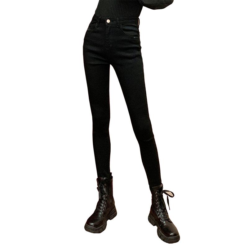 牛仔打底褲女外穿春秋夏薄黑色緊身鉛筆高腰小黑褲收腹提臀褲子魔術褲