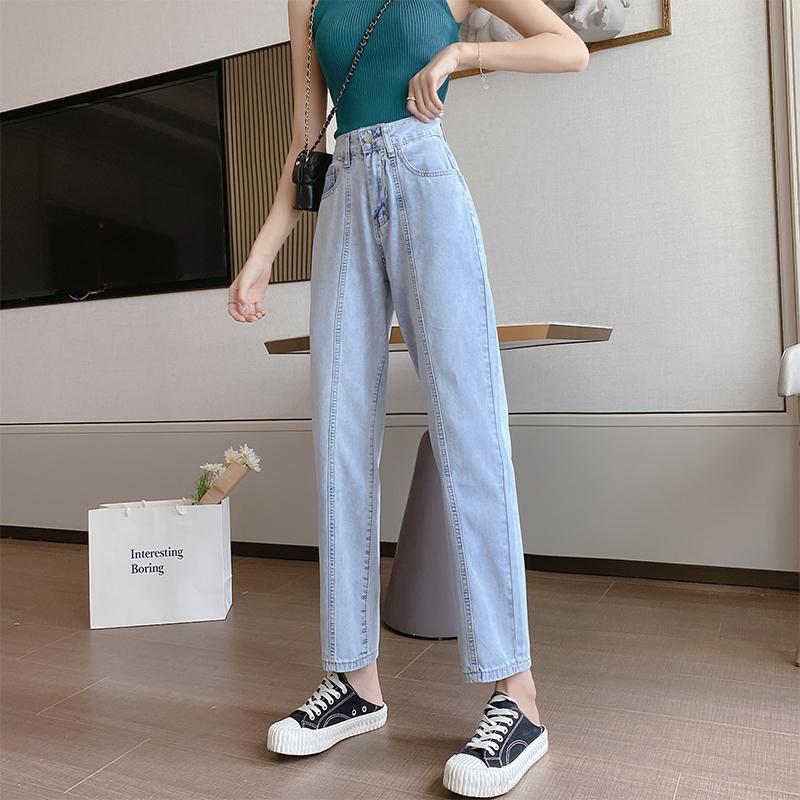 直筒牛仔褲女秋夏季薄款2021年新款高腰小個子九分闊腿褲子哈倫長褲