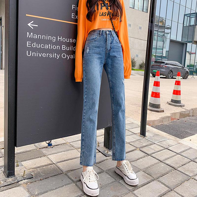 秋季韓版新款牛仔褲女高腰直筒學生休閑磨破百搭闊腿褲九分褲