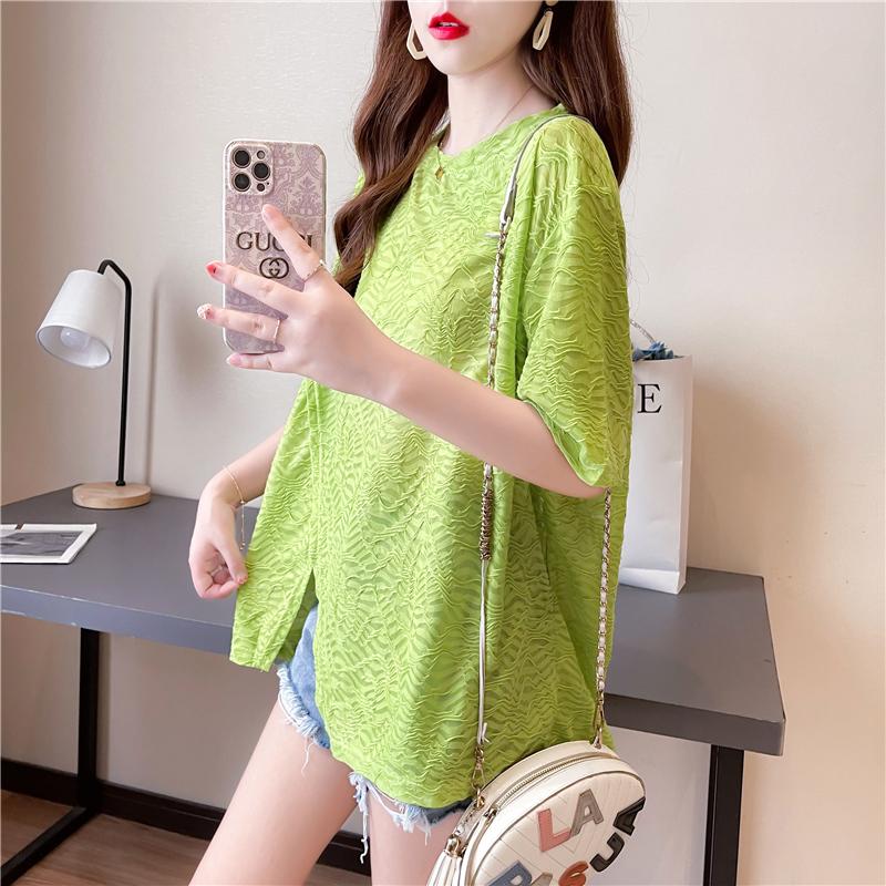 实拍网红提花设计感不规则开叉短袖T恤女2021夏季新款宽松上衣