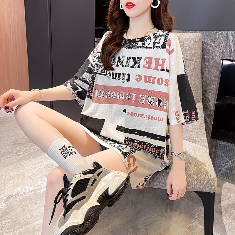 实拍棉网红减龄趣味港风字母图案短袖T恤女欧货夏新款宽松上衣