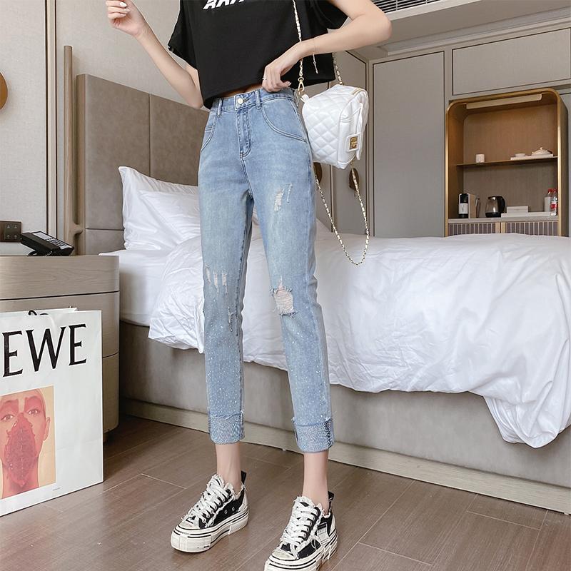 新款破洞高腰牛仔褲女韓版寬松帶鉆彈力九分顯瘦直筒闊腿老爹褲