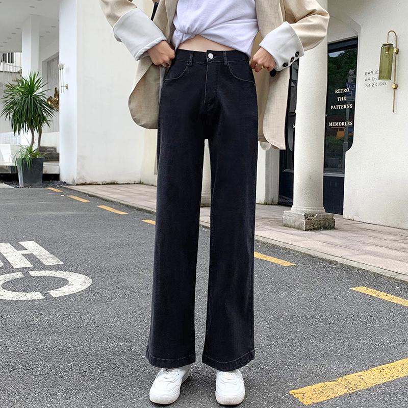 黑色高彈高腰闊腿牛仔褲女秋季直筒寬松2021新款顯瘦垂感小個子拖地褲