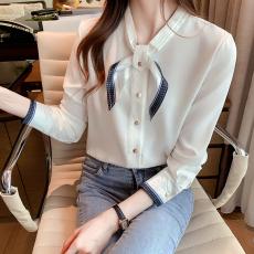 实拍2021秋新款白色蝴蝶结衬衫女别致设计感拼色职业雪纺衫上衣