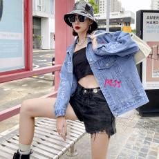 实拍欧货潮牌女装2021秋季新款街头重工刺绣长袖牛仔外套女