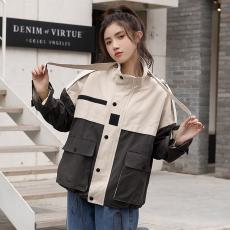 2021春秋韩版休闲女立领外套bf宽松拼色短风衣百搭工装上衣小夹克