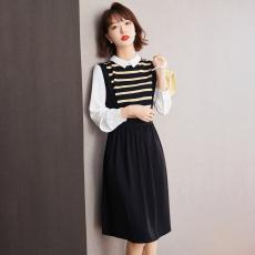实拍◆有现货◆2021秋款黑色条纹拼接连衣裙小个子收腰显瘦气质装