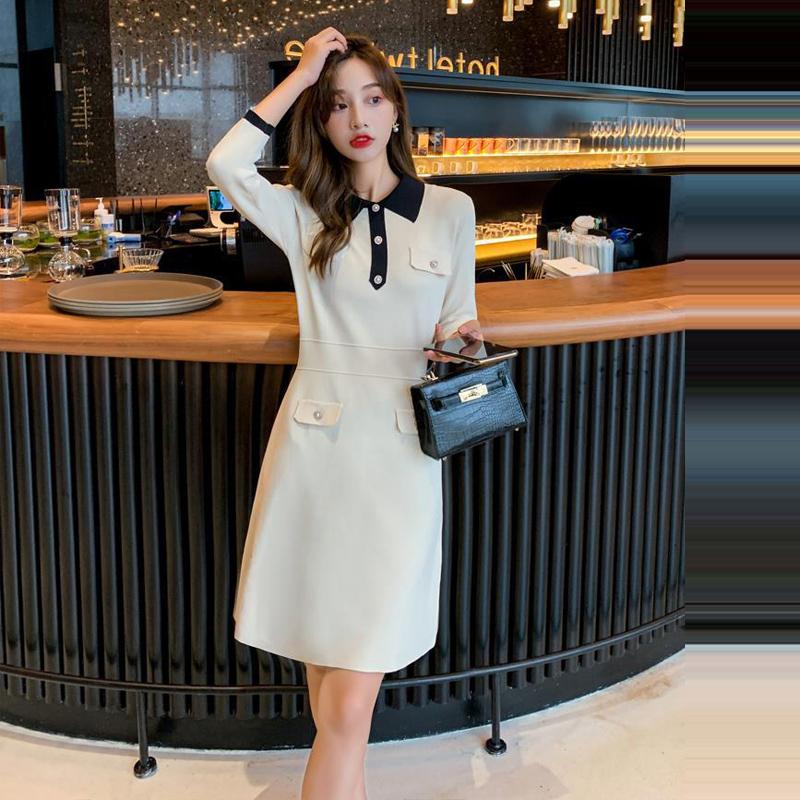 2021秋季新款小香风连衣裙七分袖收腰修身气质女神法式针织裙黑色