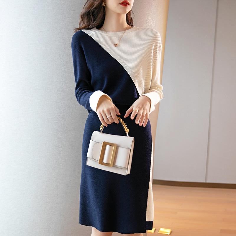 优雅名媛风 小香两件套针织连衣裙早秋2021新款洋气减龄套装裙子