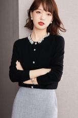 实拍◆有现货◆高品质◆纯手工订珠羊毛羊绒针织上衣女设计感小众