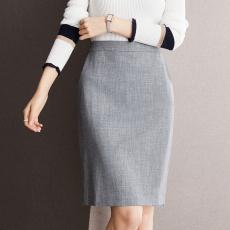 实拍◆有现货◆气质出众从容优雅时尚高阶灰后开叉包臀裙半身裙