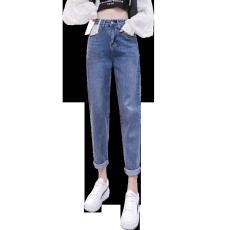 实拍2021秋季新款小个子高腰显瘦老爹萝卜裤九分哈伦裤牛仔裤女