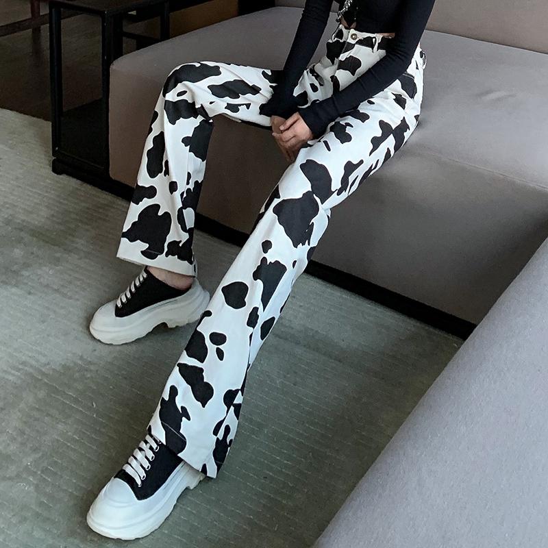 韓美歐黑白色高腰顯瘦百搭牛仔褲女奶牛個性拖地直筒長褲秋新品