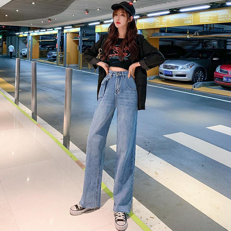 秋季新款女時尚韓版直筒闊腿拖地褲高腰修身顯瘦寬松牛仔褲(口袋可拆卸)