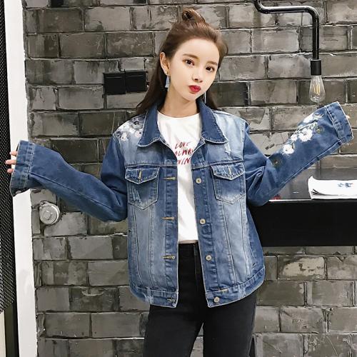 2021初秋季新款韓版顯刺繡牛仔外套女裝長袖夾克短款上衣潮