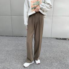 实拍拖地西装裤女2021直筒宽松垂感休闲高腰黑色阔腿裤子