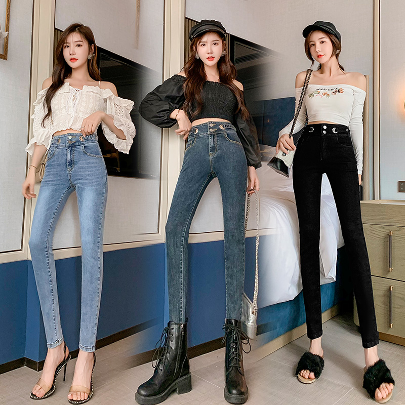 高腰緊身牛仔褲女秋彈力2021新款韓版ins修身顯瘦藍色鉛筆小腳長褲