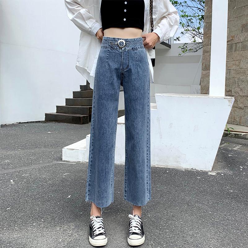 牛仔褲女直筒寬松2021年新款秋季薄款高腰八分小個子九分闊腿褲子