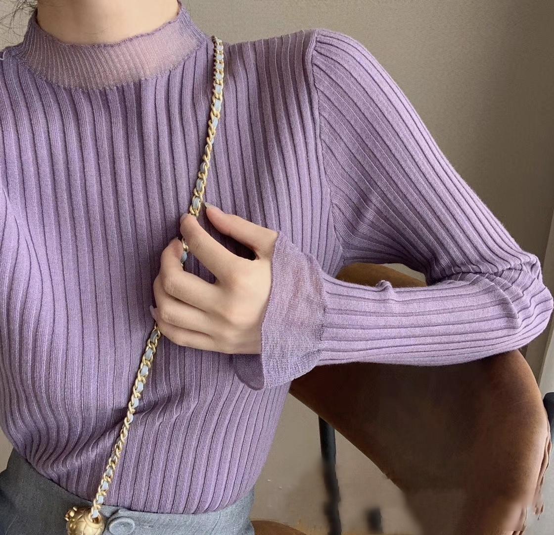 打底衫女秋冬季新款温柔风半高领网纱拼接喇叭袖针织衫内搭毛衣