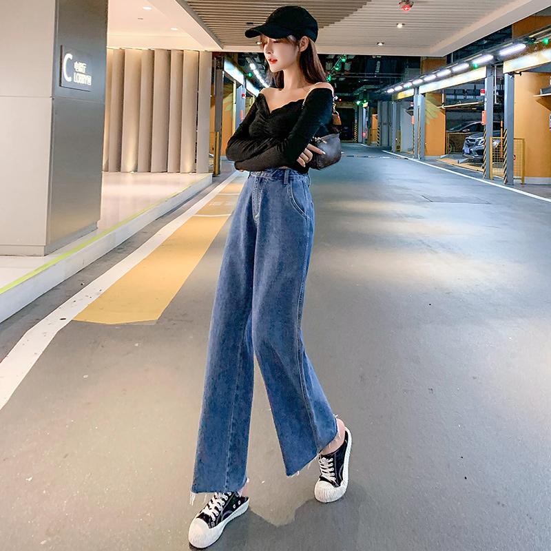實拍牛仔褲女直筒寬松2021年新款秋季高腰百搭八分小個子九分闊腿褲子