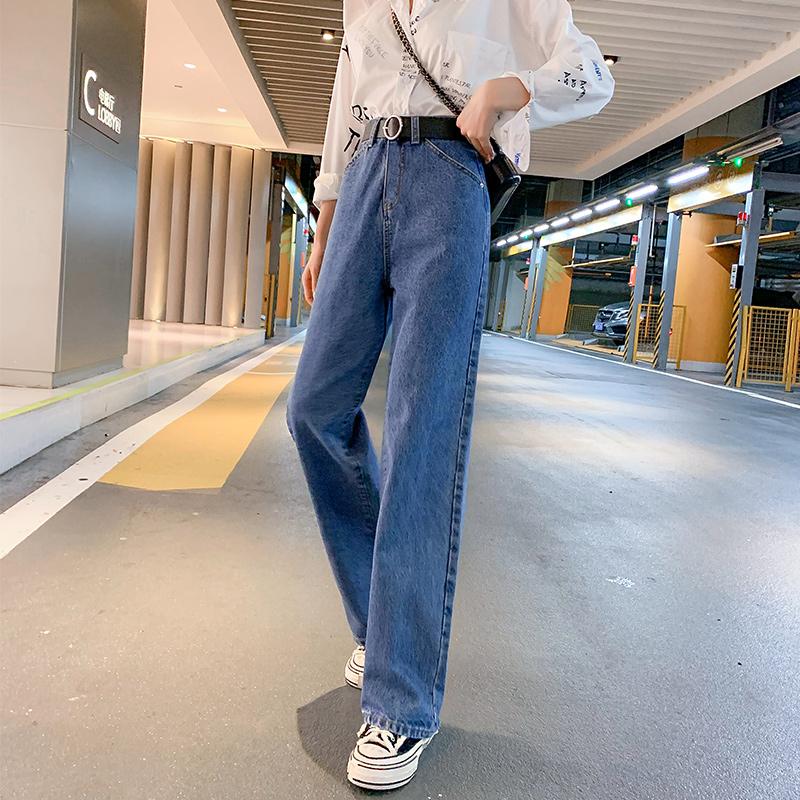 2021年秋季新款女寬松闊腿直筒褲潮范時尚拖地褲高腰顯瘦牛仔長褲