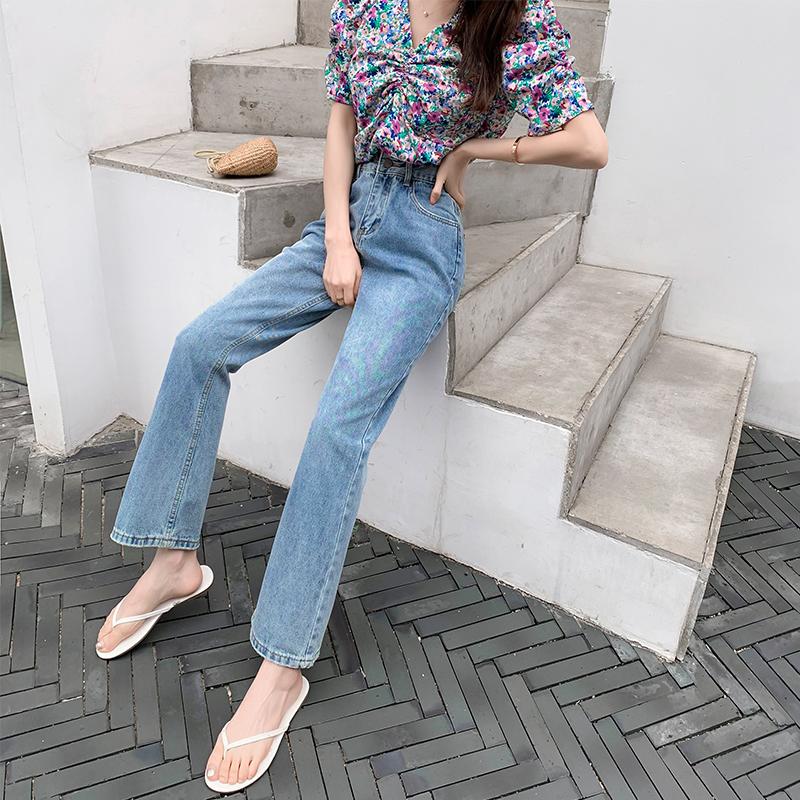 2021秋季新款女實拍時尚潮流休閑港味闊腿長褲寬松高腰修身牛仔褲