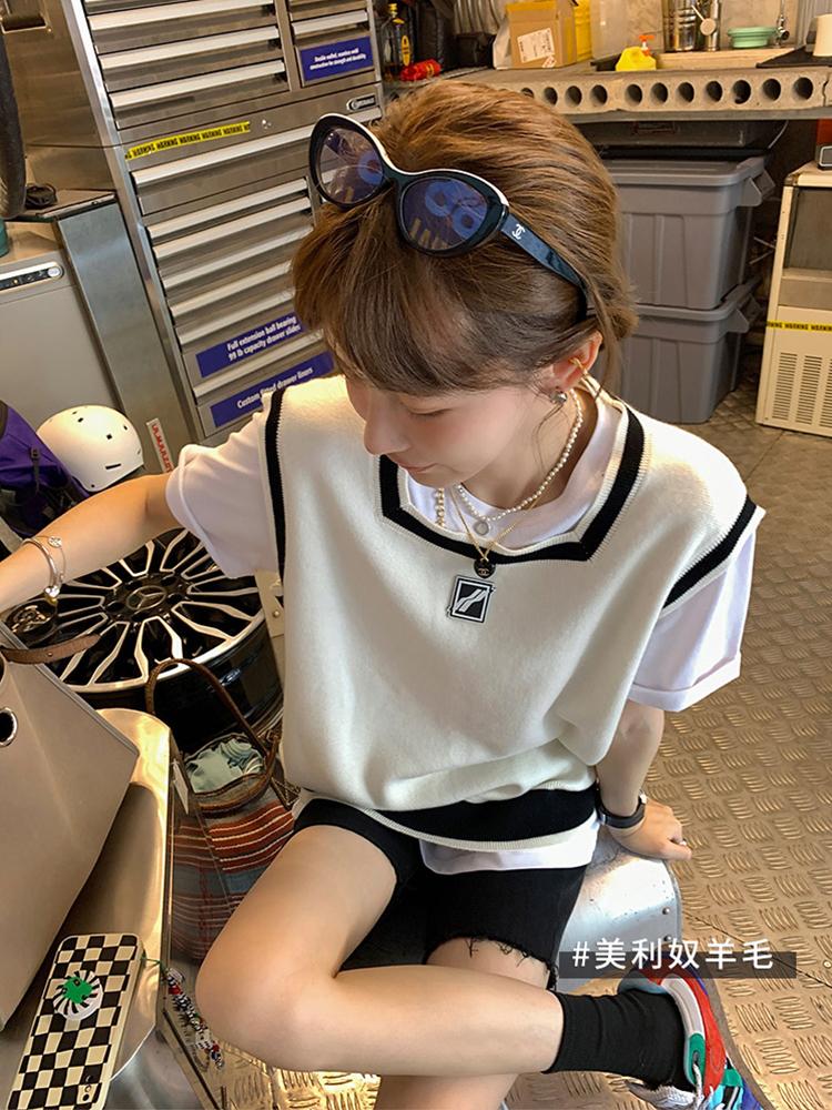 【13C】学院风方领针织马甲女2021春秋新款韩版外搭叠穿套头背心